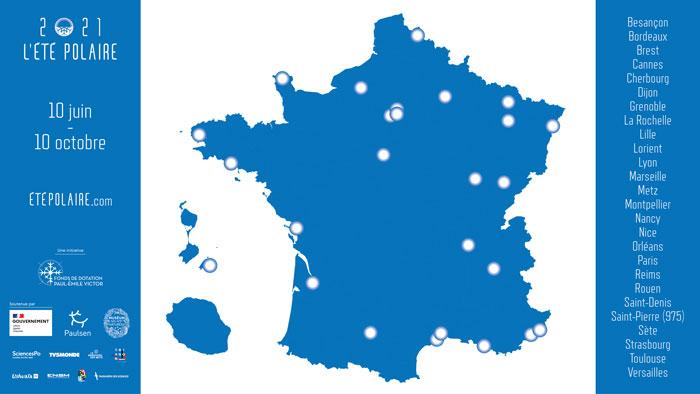 2021 L'été polaire. Carte des évènements en France